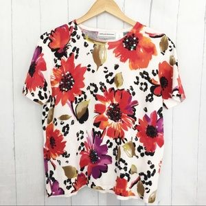 Alfred Dunner Short Sleeve Floral Sequin Sweater
